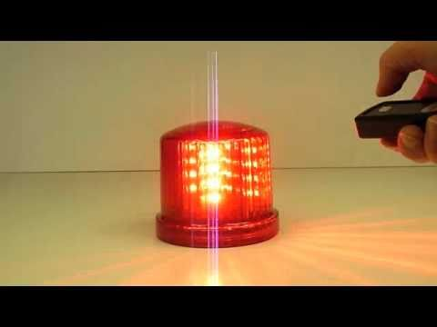 Red Battery Powered Led Warning Beacon With Remote Youtube