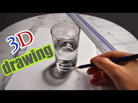 3D Drawing a realistic Glas Water/ AMAZING illusion anamorphic