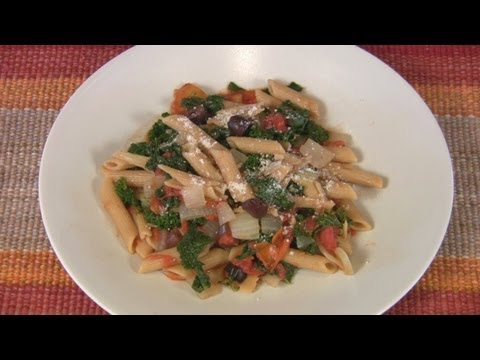 Penne with Kale Tomatoes and Olive