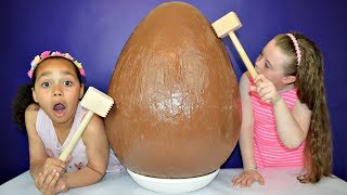 Giant Chocolate Easter Egg With Surprise Toys Inside | Toys AndMe