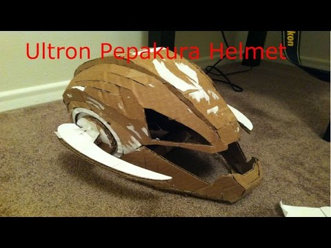 Ultron Pepakura Cardboard Helmet Time Lapse - Part 1. Building the helmet (Quick version)