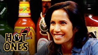 Padma Lakshmi Gracefully Destroys Spicy Wings | Hot Ones by : First We Feast
