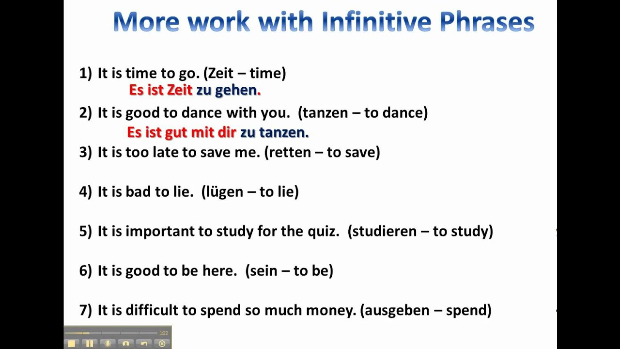 More Practice With Infinitive Phrases In German Www