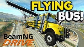 The Not So Magical Flying School Bus Chase! - BeamNG Gameplay & Crashes - Police Escape