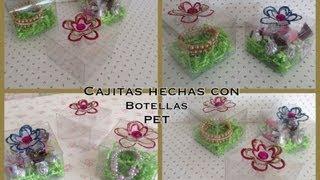 CAJITAS PARA REGALO HECHAS CON BOTELLAS PET .