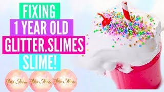 Fixing 1 Year Old Slime By Glitter.Slimes! Fixing Old/ My First EVER Glitter.Slimes Slime Package!