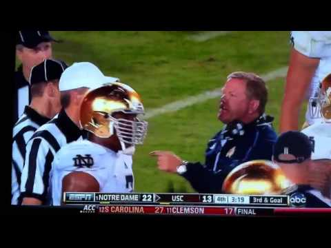 Coach Kelly yells at ref about SC trying to cheat again wit