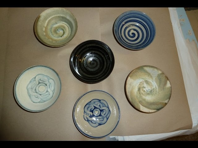 Some simple underglaze pottery slip decoration ideas on some small bowls