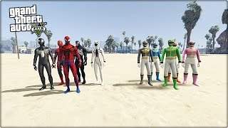 SPİDER-MAN ARMY VS POWER RANGERS GTA 5 MODU