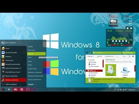Tema Theme estilo Metro Windows 8 Red Green Elegante para Windows 7   2014   2014
