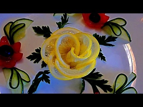 Роза из лимона. Украшения из лимона. Flowers of lemon. Decoration of lemon.