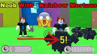 Noob With 5 Rainbow Mortuus! New Record! Unlocked All Areas In 3 Min! - Pet Simulator