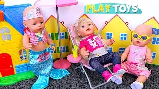 Baby Doll Swim Mermaid & Kitchen Toys! 🎀 Play with Baby Born Dolls!