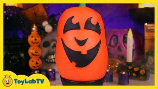 Giant Play Doh Jack-O'-Lantern Surprise Egg with Halloween Toys & Decorations from ToyLabTV