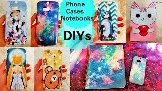 Cool DIYs: DIY Galaxy+Anime Phone Cases+DIY Galaxy notebook+DIY Cat Notebook from Scratch