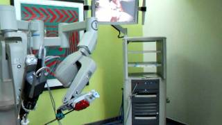 Da Vinci surgical robot peeling a grape at Southmead Hospital event