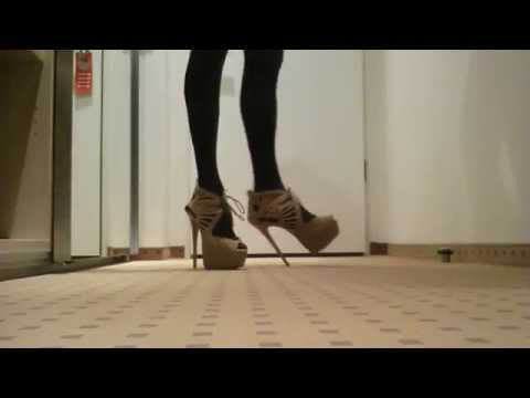 walking in beige sexy high heels 7 inch 18 cm