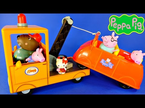 Peppa Pig Grandpa Dogs Tow Truck Wrecker Play Doh Ice Cream with Peppas Family