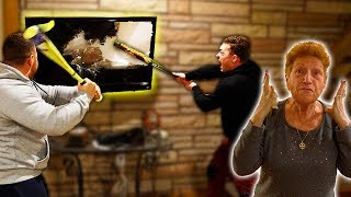 DESTROYING MY GRANDMOMS TV PRANK!