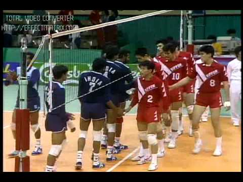 JIMMY GEORGE - UDAYAKUMAR - KERALA - INDIA - VOLLEYBALL  ACTION - SEOUL ASIAN GAMES 1986