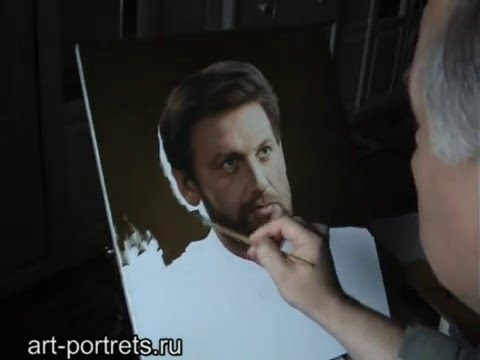 Portrait painting in oil. Realistic oil portrait of man