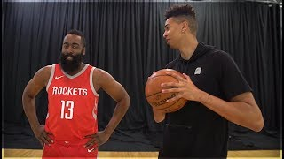 1v1 BASKETBALL vs. NBA SUPERSTAR JAMES HARDEN! NBA LIVE 18 SURPRISE!