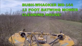 Bushwhacker MD-144 12 foot batwing mower Sneak Peek taking down overgrown CRP