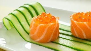 Salmon Battleship Sushi filled with Salmon Roe Recipe