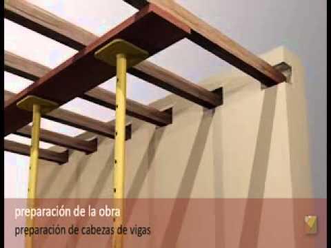 Refuerzo de acero con viga de madera youtube for Como hacer un techo de madera