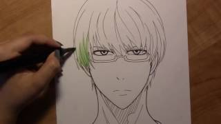 cara menggambar Midorima Shintaro dari Anime Kuroko No Basuke