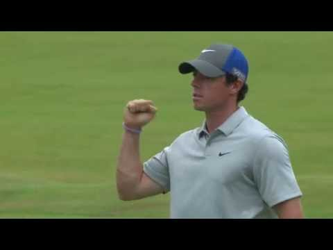 The Open Championship - Rory McIlroy approach shot and eagle putt on 18 Rnd 2