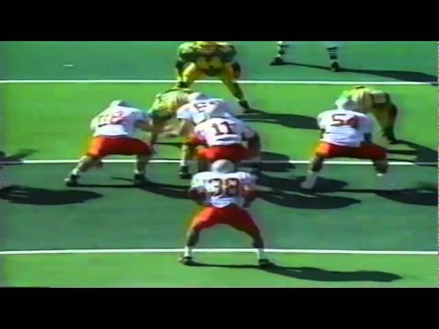 Oregon LB Tony Koker sacks UNLV's quarterback 9-26-1992