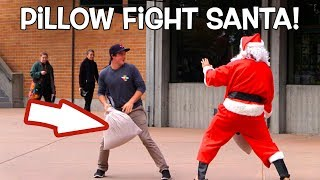 Santa Pillow Fights Students! FUNNY!