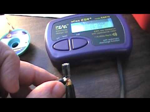 The Purple ESR Meter testing capacitors