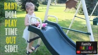 Baby Doll Playtime Outside - Fun on Slide and Swings - Outdoor Playground - Pretend Play with Ella