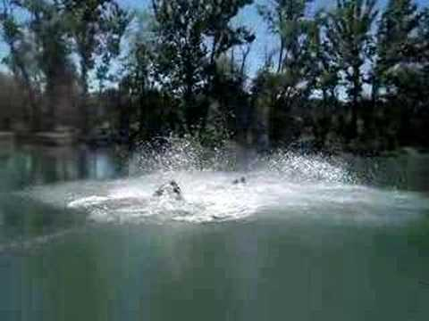 Four wheeler jump into lake Video