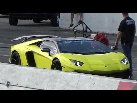 Lamborghini Aventador 50th LP720-4 Launch Control 1/4 Mile Drag Race vs Nissan GT-R StreetCarDrags