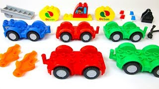 Building Blocks Toys for Children: Duplo Fire Truck, Police Car, and Fuel Truck
