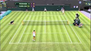 Caroline Wozniacki almost hits a ball boy- Wimbledon 2011