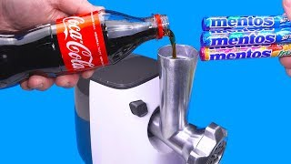 EXPERIMENT MEAT GRINDER VS COCA COLA AND MENTOS
