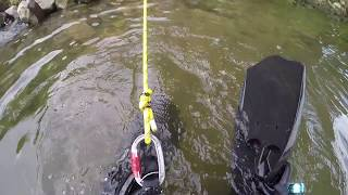 Epic Drone Fail - Crash into River -  Recovered! - Underwater Metal Detecting Scuba Diving 2018