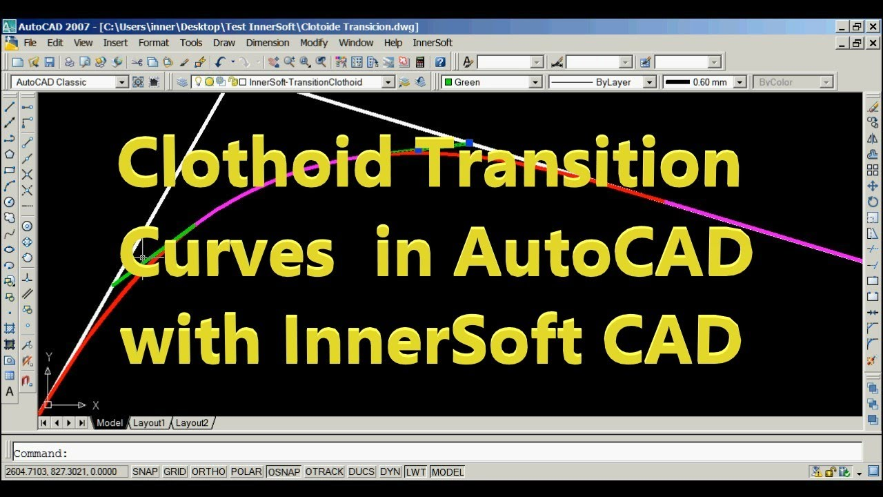Drawing Smooth Lines In Autocad : Circular and clothoid transition curves in autocad