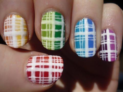 Colorful Plaid Nail Art Tutorial