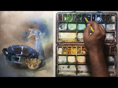 Watercolor painting of still life, demonstration step by step for beginners.