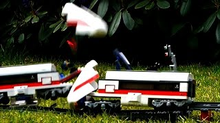 Crash with 2 high speed Lego trains - slow motion crash