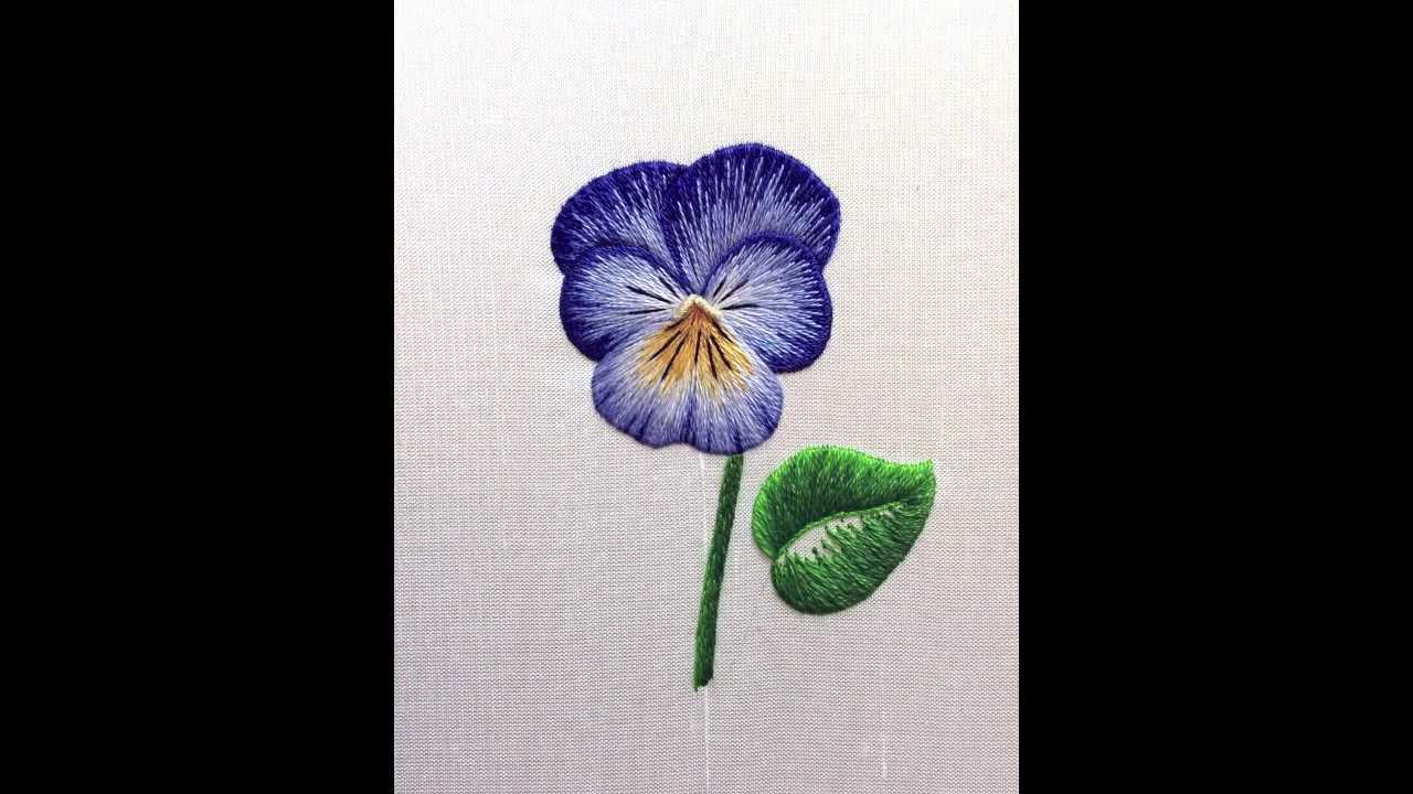 Embroidery how to silk shading pansy viola mov youtube