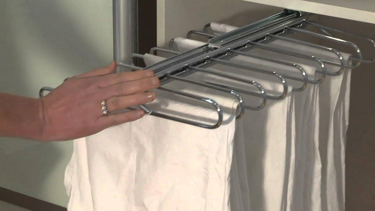 Sliderobes sliding pull out trouser rail - YouTube