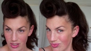 How to Rockabilly Roll hairstyle tutorial 40's 50's pinup hair paloma faith pomp - Vinatgious