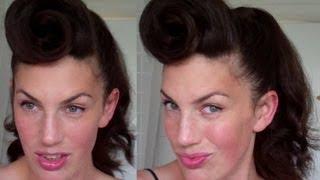 How to Rockabilly Roll hairstyle tutorial 40's 50's pinup hair paloma faith pomp - Vinatgious