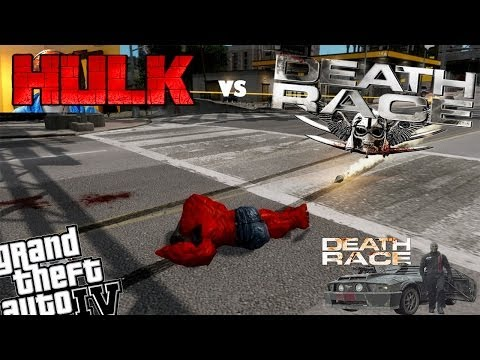 GTA 4 + Webcam Red Hulk Mod vs Death Race Mod - Hulk Fight Death Race Vehicles
